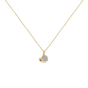 Snail Girl's Diamond Pendant with Chain