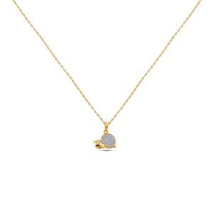 Snail Girl's Diamond Pendant with Chain