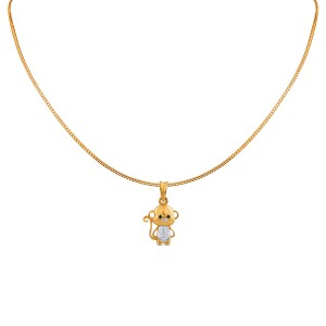Playful Kid's Monkey Yellow Gold Diamond Pendant with Chain for Kid's