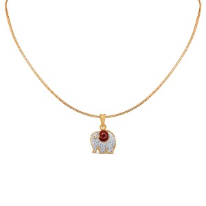 Elephant Kid's Yellow Gold Diamond Pendant with Chain for Kid's