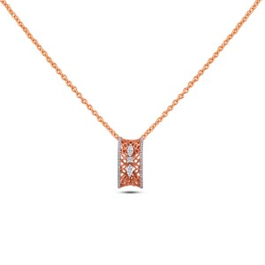 Viola Diamond & Rose Gold Pendant with Chain