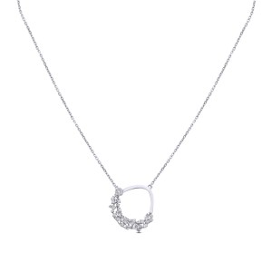 Cecil Diamond & White Gold Pendant with Chain