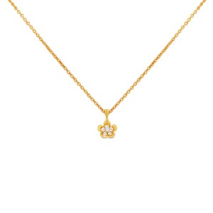 Tiya Yellow Gold Diamond Pendant with Chain