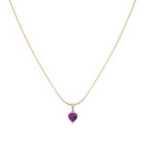 Risa Diamond & Amethyst Pendant with Chain