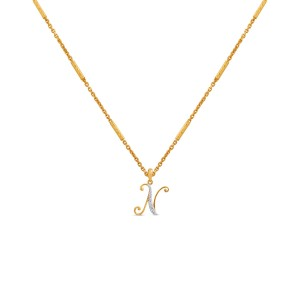 """N"" Monogram Diamond Pendant with Chain"
