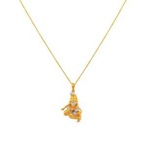 Krishna Yellow Gold Diamond Pendant with Chain