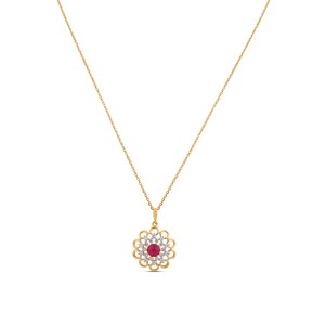 Hana Diamond Ruby & Gold Pendant with Chain