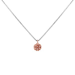 Bouquet of Roses Rose Gold Diamond Pendant with Chain