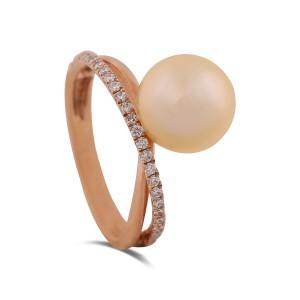 Anahita Yellow Gold Pearl Diamond Ring