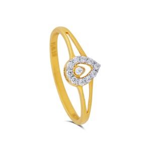 Teardrop Yellow Gold Diamond Ring