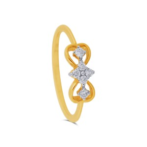 Double Heart Yellow Gold Diamond Ring
