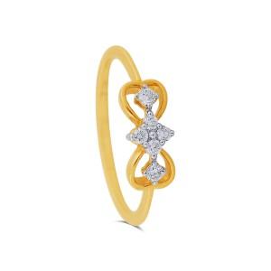 Double Heart Yellow Gold Diamond Ring