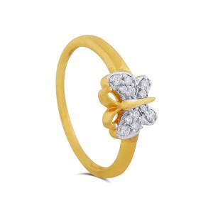 Athena Butterfly Yellow Gold Diamond Ring