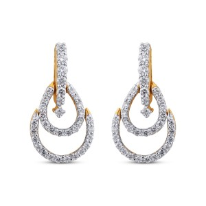 Leah Yellow Gold Diamond Drop Earrings