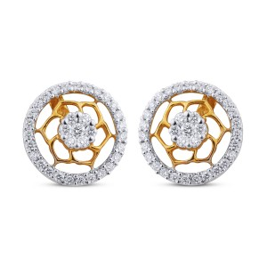 Lucy Yellow Gold Diamond Stud Earrings