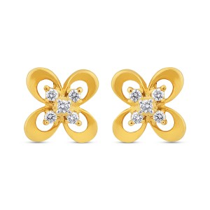 Kaasni Yellow Gold Diamond Earrings