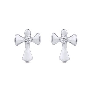 Milagros Cross White Gold Diamond Earrings