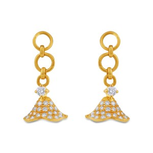 Sheila Girl's Yellow Gold Diamond Jhumkas