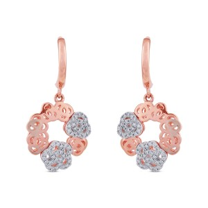 Nina Diamond & Rose Gold Dangler Earrings