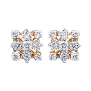 Allison Yellow Gold Diamond Stud Earrings