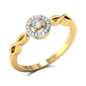 Opula Diamond Studded Gold Ring DJRN5389