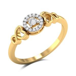 Clinquant Diamond Studded Gold Ring DJRN5383