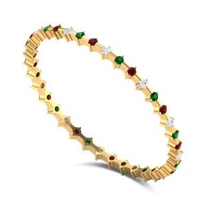 Adinath Ruby and Emerald Diamond Bangle