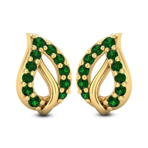 Leafy Emerald Stud Earrings