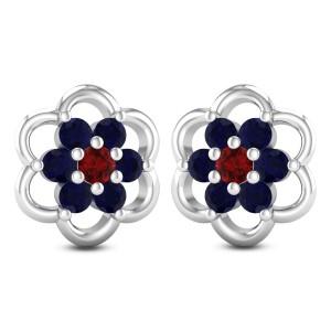 Blooming Sapphire Stud Earrings