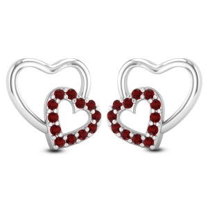 Ruby Twin Heart Stud Earrings