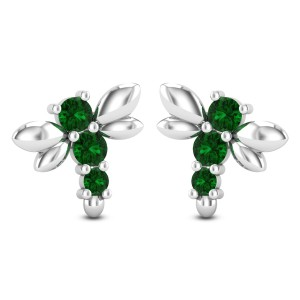 Emerald Fly Stud Earrings