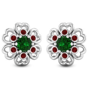 Trio Gem Floral Stud Earrings
