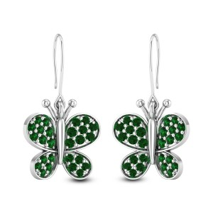 Emerald Butterfly Hanging Earrings