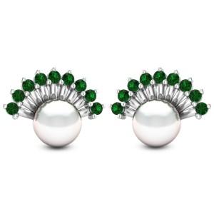 Emerald Frill Pearl Stud Earrings