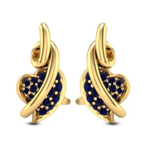 Entwined Sapphire Heart Stud Earrings