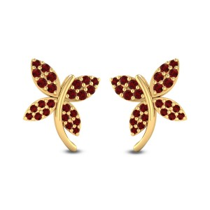 Ruby Butterfly Stud Earrings