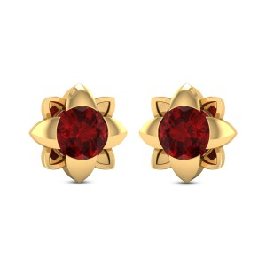 Germaine Floral Ruby Stud Earrings