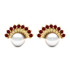 Ruby Frill Pearl Stud Earrings