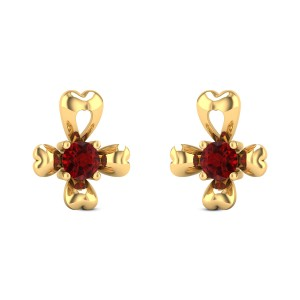 Impatiens Ruby Stud Earrings