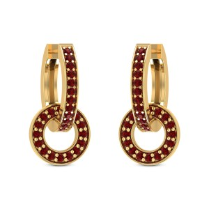 Interlocked Ruby Hoop Earrings