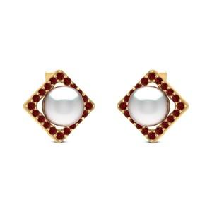 Bahar Ruby Pearl Stud Earrings