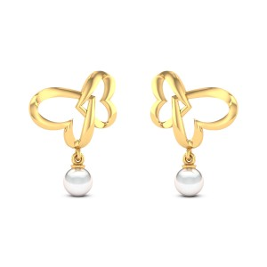 Locked Heart Pearl Drop Stud Earrings