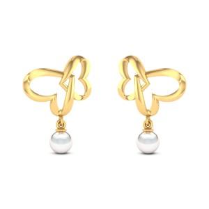 Locked Heart Pearl Drop Stud Earrings