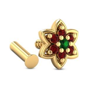 Hemanthi Floral Ruby Nosepin