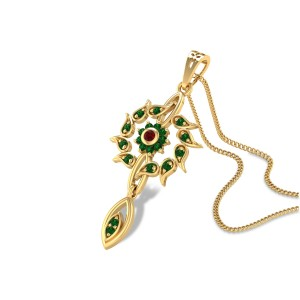 Emerald Leafy Floral Pendant
