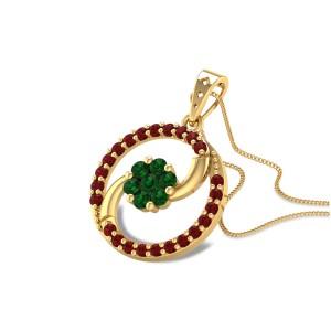 Amalthea Emerald Flower Pendant