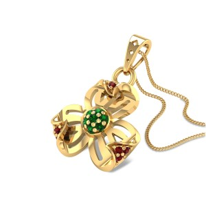 Folded Petal Ruby and Emerald Pendant
