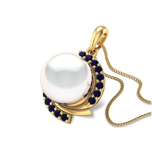 Aanantya Sapphire and Pearl Pendant