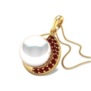 Aayam Ruby and Pearl Pendant