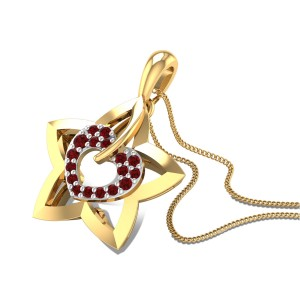 Heart Star Ruby Pendant